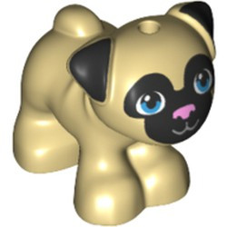 Tan Dog, Friends, Pug, Standing with Black Face and Ears, Bright Pink Nose and Dark Azure Eyes Pattern (Toffee) - new