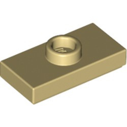 Tan Plate, Modified 1 x 2 with 1 Stud with Groove and Bottom Stud Holder (Jumper) - new