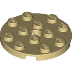 Tan Plate, Round 4 x 4 with Hole - new