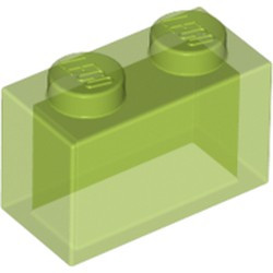 Trans-Bright Green Brick 1 x 2 without Bottom Tube - new