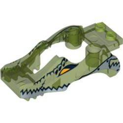 Trans-Bright Green Flywheel Fairing Crocodile Shape with Silver Crocodile Pattern (70112) - used