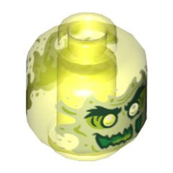 Trans-Neon Green Minifigure, Head Alien Ghost with Yellowish Green Face, Bushy Eyebrows, Slime Mouth and Flames in Back Pattern - Vented Stud
