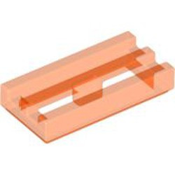 Trans-Neon Orange Tile, Modified 1 x 2 Grille with Bottom Groove / Lip - used