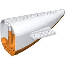White Aircraft Fuselage Aft Section Curved with Orange Base - used
