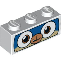 White Brick 1 x 3 with Dog Face Wide Eyes, Blue and Tan Face, and White Mask Pattern (Dalmatian Puppycorn) - new