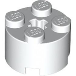 White Brick, Round 2 x 2 with Axle Hole - used