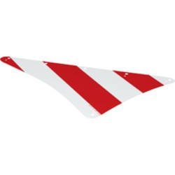 White Cloth Sail Triangular Spritsail 16 x 24 with Red Thick Stripes Pattern - new