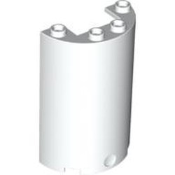 White Cylinder Half 2 x 4 x 5 with 1 x 2 Cutout - new