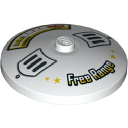 White Dish 4 x 4 Inverted (Radar) with Solid Stud with Scrambled / Fried Gauge and 'Free Range' Pattern - new