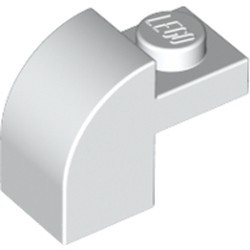 White Slope, Curved 2 x 1 x 1 1/3 with Recessed Stud