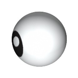 White Technic, Ball Joint with Black Eye with Pupil Pattern - used