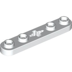 White Technic, Plate 1 x 5 with Smooth Ends, 4 Studs and Center Axle Hole - new