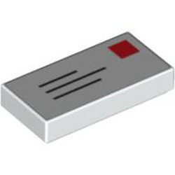 White Tile 1 x 2 with Groove with Blue Lines and Red Square Pattern (Mail Envelope with Stamp) - new