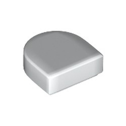 White Tile, Round 1 x 1 Half Circle Extended (Stadium) - new