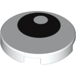 White Tile, Round 2 x 2 with Bottom Stud Holder with Black Eye with Pupil Pattern - new