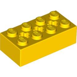 Yellow Technic, Brick 2 x 4 with 3 Axle Holes - new