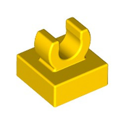 Yellow Tile, Modified 1 x 1 with Open O Clip - new