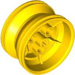 Yellow Wheel 43.2mm D. x 26mm Technic Racing Small, 3 Pin Holes - new