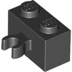 Black Brick, Modified 1 x 2 with Open O Clip Thick (Vertical Grip) - used