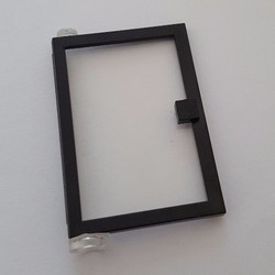 Black Door 1 x 4 x 5 Left with Trans-Clear Glass - used