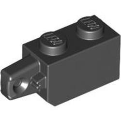 Black Hinge Brick 1 x 2 Locking with 1 Finger Vertical End