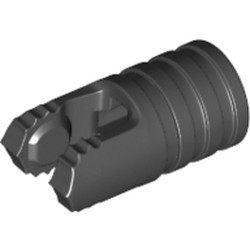 Black Hinge Cylinder 1 x 2 Locking with 2 Fingers, 7 Teeth and Axle Hole on Ends without Slots - new