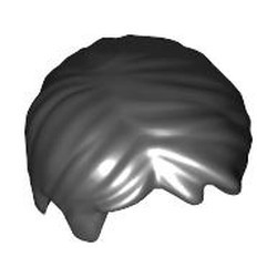 Black Minifigure, Hair Short Tousled with Side Part