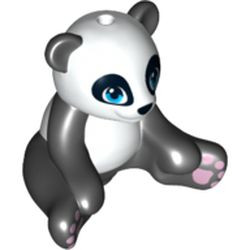 Black Panda, Friends, Sitting with Dark Azure Eyes, Lavender Paws and White Head and Stomach Pattern