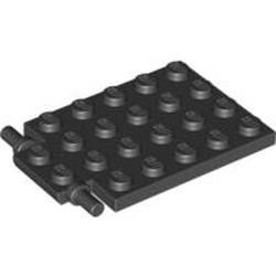 Black Plate, Modified 4 x 6 with Trap Door Hinge (Long Pins) - used