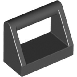 Black Tile, Modified 1 x 2 with Bar Handle - new