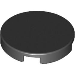 Black Tile, Round 2 x 2 with Bottom Stud Holder - new