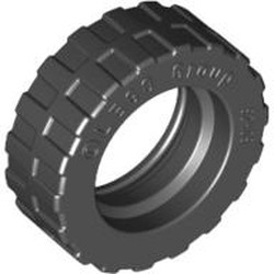 Black Tire 17.5mm D. x 6mm with Shallow Staggered Treads - Band Around Center of Tread