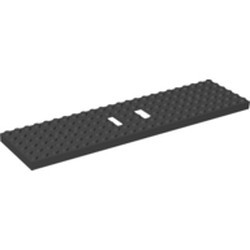 Black Train Base 6 x 24 with 3 Round Holes Each End