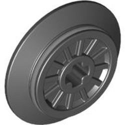 Black Train Wheel RC, Spoked with Technic Axle Hole and Rubber Friction Band