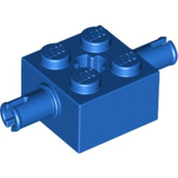 Blue Brick, Modified 2 x 2 with Pins and Axle Hole - new