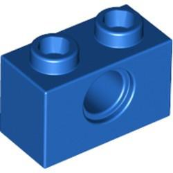 Blue Technic, Brick 1 x 2 with Hole - used
