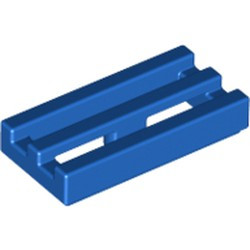 Blue Tile, Modified 1 x 2 Grille with Bottom Groove / Lip - new