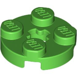 Bright Green Plate, Round 2 x 2 with Axle Hole