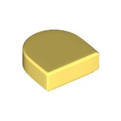 Bright Light Yellow Tile, Round 1 x 1 Half Circle Extended (Stadium) - new