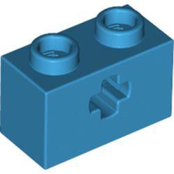 Dark Azure Technic, Brick 1 x 2 with Axle Hole