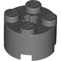 Dark Bluish Gray Brick, Round 2 x 2 with Axle Hole
