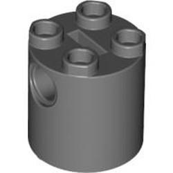 Dark Bluish Gray Brick, Round 2 x 2 x 2 Robot Body - with Bottom Axle Holder x Shape + Orientation