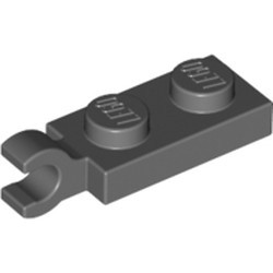 Dark Bluish Gray Plate, Modified 1 x 2 with Clip on End (Horizontal Grip) - new