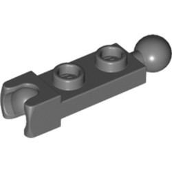 Dark Bluish Gray Plate, Modified 1 x 2 with Tow Ball and Small Tow Ball Socket on Ends - new