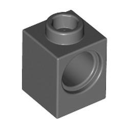 Dark Bluish Gray Technic, Brick 1 x 1 with Hole