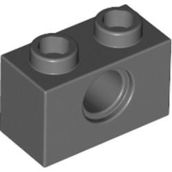 Dark Bluish Gray Technic, Brick 1 x 2 with Hole