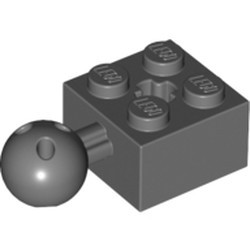Dark Bluish Gray Technic, Brick Modified 2 x 2 with Ball Joint and Axle Hole with 6 Holes in Ball - new