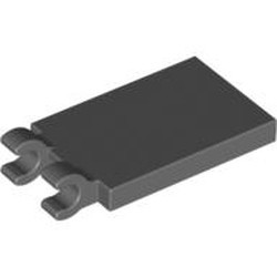 Dark Bluish Gray Tile, Modified 2 x 3 with 2 Open O Clips