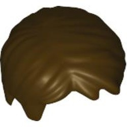 Dark Brown Minifigure, Hair Short Tousled with Side Part