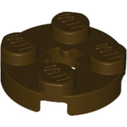 Dark Brown Plate, Round 2 x 2 with Axle Hole - used